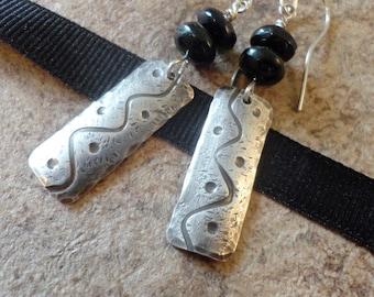 Black Onyx Earrings: Sterling Silver & Black Onyx Stamped Earrings