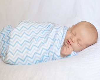 Flannel Swaddle Blanket - Blue Chevron Blanket  - Flannel Receiving Blanket - Baby Boy Gift - Baby Boy Shower Gift