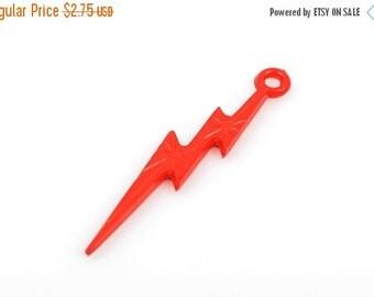 25 RED LIGHTNING Bolt Charm Pendants, acrylic, 45x9mm  cha0171