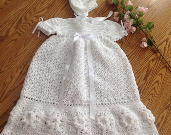 New crocheted Rose Christening Gown and Bonnet Set