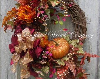Fall Wreath, Autumn Wreaths, Thanksgiving Wreath, Harvest Wreath, Fall Woodland, Pumpkin Wreath, Elegant Fall Wreath, Designer Fall Floral