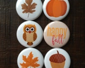 Fall Happy Leaves Pumpkin Owl Flair Buttons