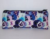 """Pipe Pouch, Pansy Floral Bag, Pipe Case, Pipe Bag, Padded Pipe Pouch, Vape Pen Bag, Flowers Bag, Hippie Gift, Padded Zipper Bag - 7.5"""" LARGE"""