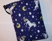 "Pipe Pouch, Unicorns & Moons, Pipe Case, Pipe Bag, Magical Gift, Padded Pipe Pouch, Smoke Bag, 420, Weed, Glass Piece Holder - 7"" DRAWSTRING"