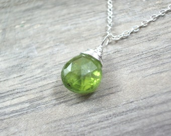 Green Peridot pendant tiny minimalist silver wire wrapped teardrop faceted briolette gemstone necklace Peridot Jewelry