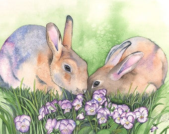 Rabbits print of watercolour painting R8116, A3 size largest print, woodland nursery print, art for baby, rabbit painting, Easter gift