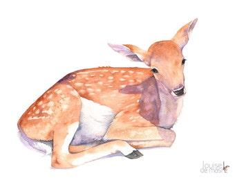 Baby Deer ORIGINAL watercolor painting, Fawn Original watercolor painting, woodland animal original painting F9116 Original Nursery painting