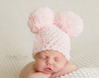 Newborn Pom Pom Hat, Newborn Girl Hat, Newborn Photo Prop, Baby Hat, Crochet Baby Hat, Girl Photo Prop, Pink And White Hat, Infant Hat