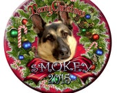 German Shepherd Christmas 3 Inch Round Magnet Hand Made Personalized Photo Gift