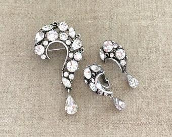 Lisner Rhinestone Brooch Set - Lisner Question Mark Brooch Earrings Set - Lisner Rhinestone Set - Vintage Lisner Jewelry
