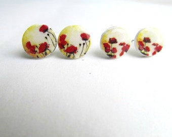 Red Poppy Stud Earrings British Poppy Day, Remembrance Day