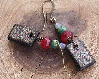 Mexican Art Earrings, Stained Glass Earrings - Antiqued Brass, czech earrings, wood earrings, decoupage earrings,