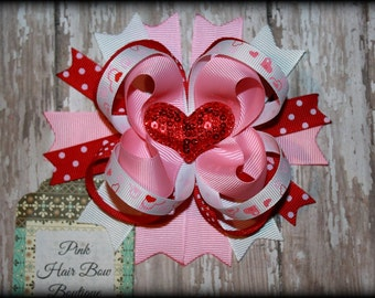 Valentine's Day Bow - Red pink and white Valentine's Day Hair Bow - Cute heart valentines Day hair bow - heart hair bow - valentines day