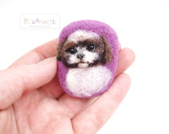 Needle Felted Shih Tzu Puppy brooch or magnet.
