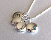 Silver 2 Initial & 2 Birthstone Charm Necklace -  Birthstone Necklace - Personalized Necklace - Initial Necklace