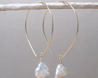 Keshi Pearl Open Hoop Gold Earrings