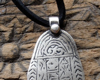 "Moroccan silver small Tuareg style hand engraved alphabet Hand 2.5 cm or 1"" long with black tie"