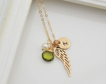 Angel Necklace with a Birthstone, Pearl and Initial Disc, Personalized Gold Necklace, Angel Wing, Bridesmaid Gift