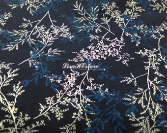 Fern and branch, on dark blue, 1/2 yard, pure cotton fabric