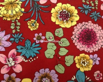 Flowers, red, fat quarter, pure cotton fabric
