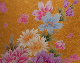 GOLDEN SAFFRON Exquisite Vintage Japanese Furisode silk Floral woven 15 x 96 inches