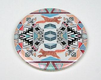 Geometric Fox Pocket Mirror