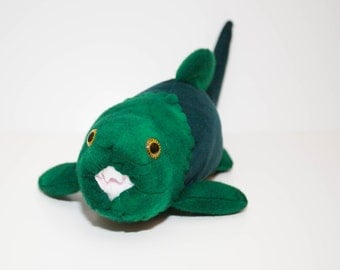 Extinct Dunkleosteus Fossil Plush in Green and Teal