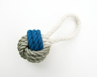 Silver & Blue Painted Monkey's Fist Knot - Ornament