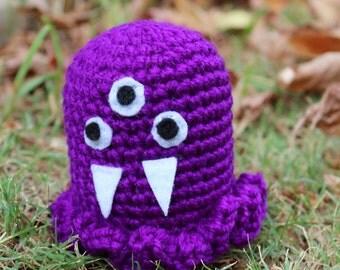 Jelly-Purple Mini Monster Alien Crochet Plushie Soft Toy