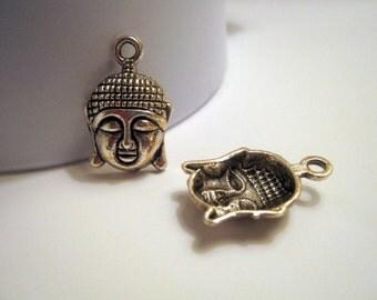5 Silver Tone Buddha Charm/Pendant (1020)