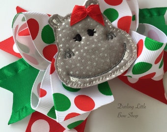 Christmas Bow with red and green jumbo polka dots -- I Want a Hippopotamus for Christmas -- red, green and gray hippo bow