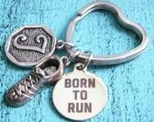 personalized runner gift, runner keychain, personalized keychain born to run keychain, love running keychain, running gift, fitness keychain