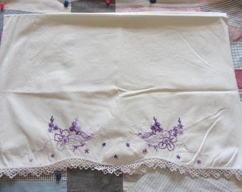 Vintage Embroidered Butterfly Pillowcase 1 White Cotton Butterfly Embroidery Crochet Trim