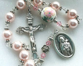 St.Therese Rosary - Relic Medal - Floral Catholic Rosary - The Little Flower Rosary - Swarovski Pearl