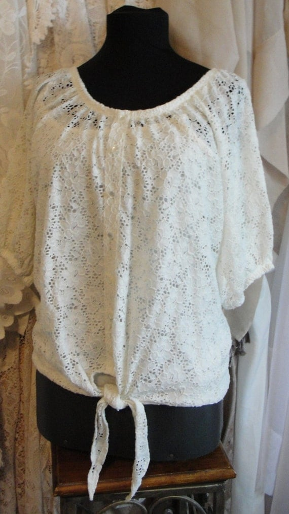 vintage lace top shabby chic clothing by