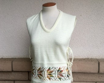 70s Sweater Top Vest With Open Sides One Size