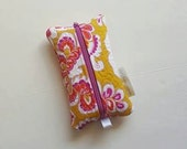 Zippered Tissue Holder, Kleenex, Travel Tissue Holder, Mustard Yellow with Pinks Purples and White Floral, Includes Tissue, Ready to Ship