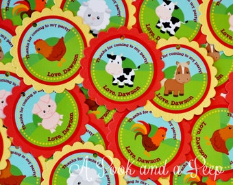 Down on the farm Favor Tags or Stickers in Red and Yellow for Baby showers and birthday parties