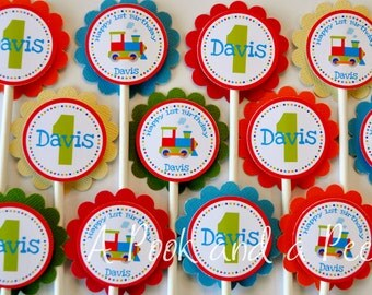 Bright Train Choo Choo Birthday or Baby Shower Cupcake Toppers