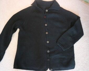 Black hand knitted wool cardigan M / L