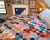 """Crazy Quilt, patchwork quilt, plaid, hounds tooth, herringbone, floral, check, geometric, hand tied, 84""""x74"""""""