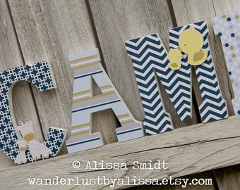 Baby Animal Nursery Letters, Custom Wooden Letters, Custom Letters, Baby Boy, Baby Girl (duck, hippo, giraffe, lion, navy, gold) 7 Inch Size