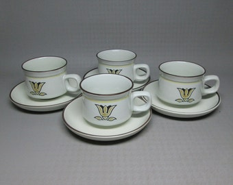 DENBY pottery 4 cups and saucers KIMBERLY stoneware england