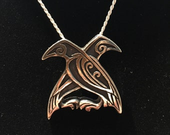 Odin's Ravens Pendant / Sterling Silver / Hand Carved / Viking jewelry / norse / nordic legend / mythical / necklace
