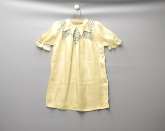 Vintage Baby Clothes, 1920's Handmade Pale Yellow and Blue Crepe Baby Girl Dress, Vintage Baby Dress, Yellow Baby Dress, Size 3T