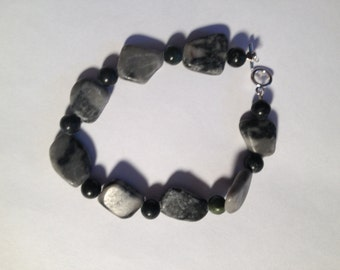 Shades of Gray: Handmade Bracelet Featuring Stone Beads-- Sale Price