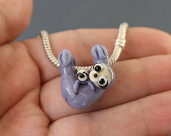 Sloth with baby necklace glass charm pendant jewelry bead lampwork Glass bead, sloth pendant european bracelet big hole beads BHB bead