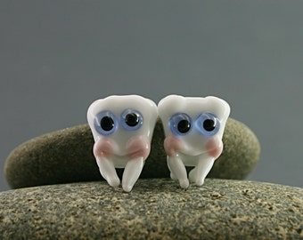 Two teeth sculpture figurine miniature tooth fairy gift earrings pendant jewelry glass lampwork bead charm baby cute tooth bookmark