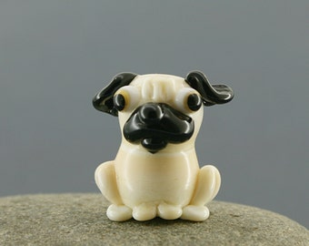 Pug dog miniature sculpture figurine bead with bone/ fairy garden supply kit terrarium accessory glass lampwork tiny animal pet