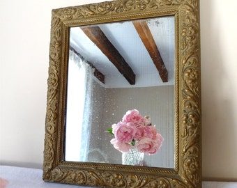 1840 MIRROR - French antique wooden frame and Mirror - distressed Gold Color, french home decor mirror